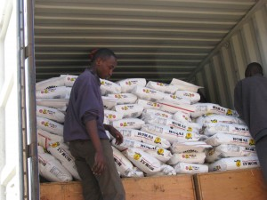 Bags of rice and other supplies