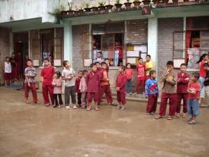 "Naga school children enjoying ""snack time"""