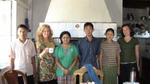 In Tiala's kitchen ~ Bahadur on far left