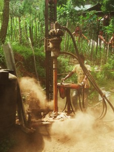 Observation of drilling apparatus at the first unsuccessful site.