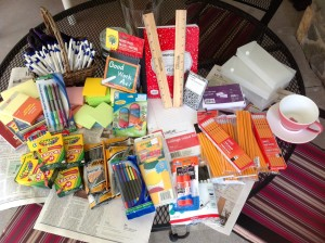 Portion of school supplies donated by ADK Members