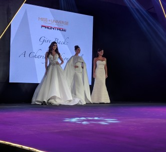 Miss Universe 2015 Pia Wurtzbach, Miss Universe 2016 Iris Mittenaere and Miss Universe 2017 Demi Leigh Nel-Peters at Miss Universe/Frontrow Gala Fundraiser for H4C Philippines Foundation