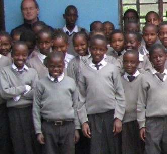 Director James Smith with students in Sakila, Tanzania