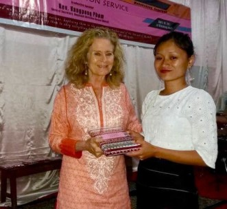 India Director Sarah Smith with Nagaland School student